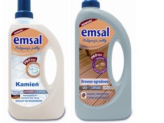 Preparaty Emsal Kamień i Emsal Drewno ogrodowe do czyszczenia i pielęgnacji drewna i kamieni.