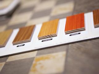 Drewniane panele w łazience.