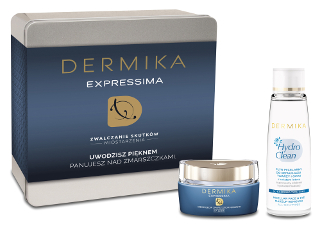 Zestaw prezentowy Dermika z kremem Expressima i płynem micelarnym.